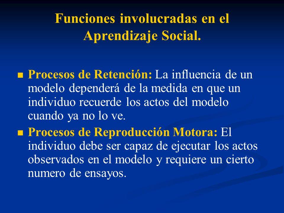 Funciones involucradas en el Aprendizaje Social. Procesos de Retención: La influencia de un modelo dependerá de la medida en que un individuo recuerde