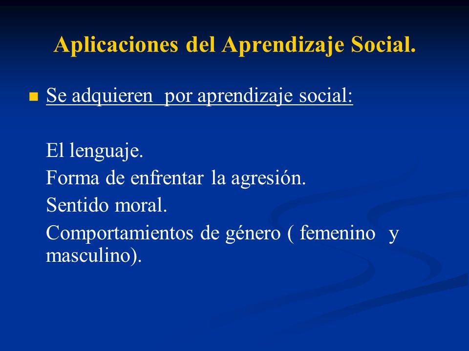 Aplicaciones del Aprendizaje Social. Se adquieren por aprendizaje social: El lenguaje. Forma de enfrentar la agresión. Sentido moral. Comportamientos