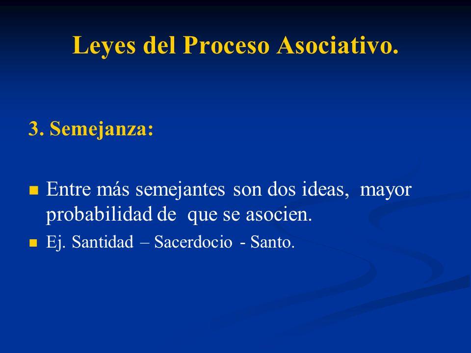 Leyes del Proceso Asociativo. 3. Semejanza: Entre más semejantes son dos ideas, mayor probabilidad de que se asocien. Ej. Santidad – Sacerdocio - Sant