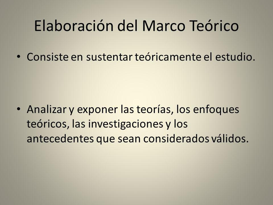Elaboración del Marco Teórico Consiste en sustentar teóricamente el estudio. Analizar y exponer las teorías, los enfoques teóricos, las investigacione