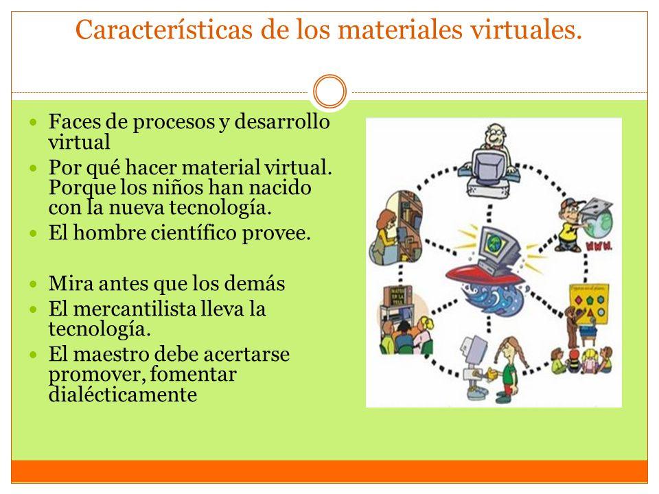 Características de los materiales virtuales. Faces de procesos y desarrollo virtual Por qué hacer material virtual. Porque los niños han nacido con la