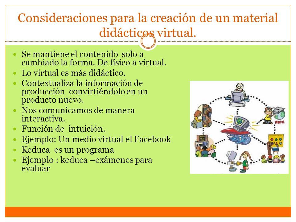 Consideraciones para la creación de un material didácticos virtual. Se mantiene el contenido solo a cambiado la forma. De físico a virtual. Lo virtual
