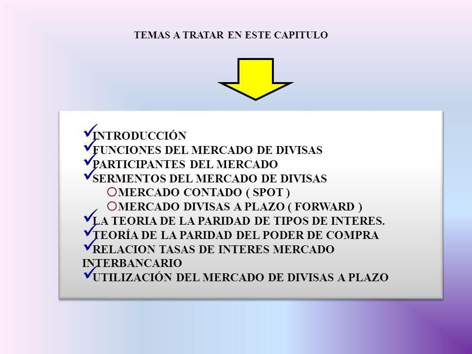 EN LOS SEGMENTOS DE MERCADO SE REALIZAN LASS OPERACIONES DE LA OFERTA Y DEMANDA DEL MERCADO Y QUE CONFIGURAN PRECIO TIPO DE CAMBIO RELACIÓN DE CONVERSIÓN DE LAS MONEDAS