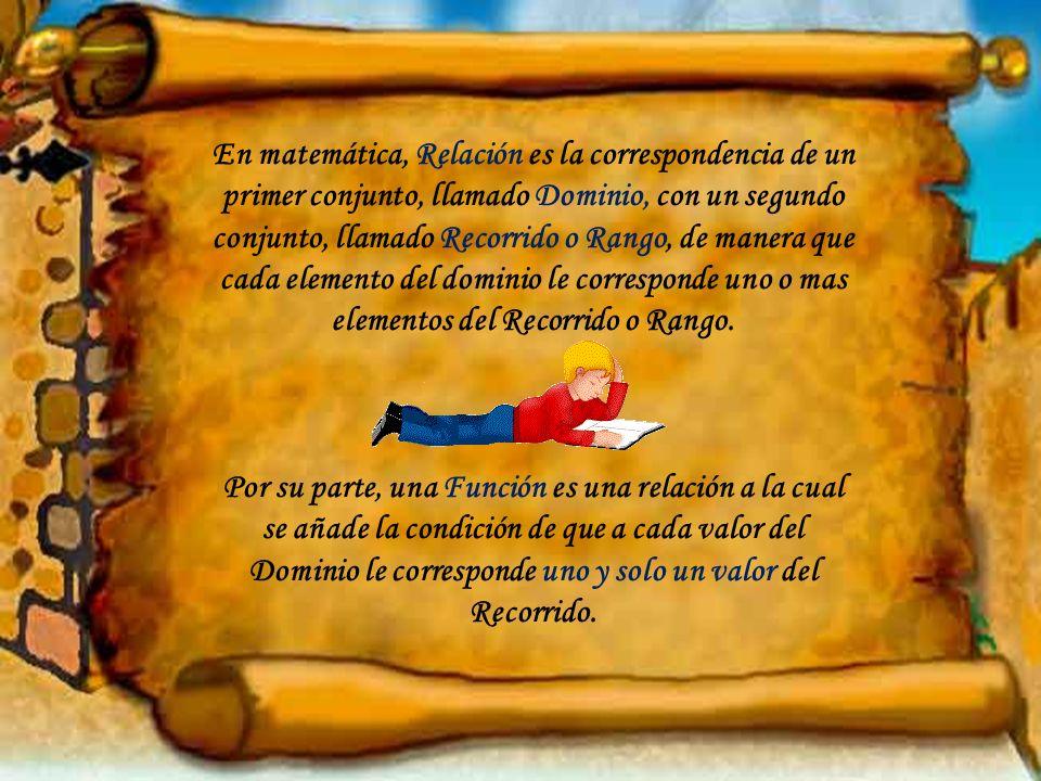 En matemática, Relación es la correspondencia de un primer conjunto, llamado Dominio, con un segundo conjunto, llamado Recorrido o Rango, de manera qu