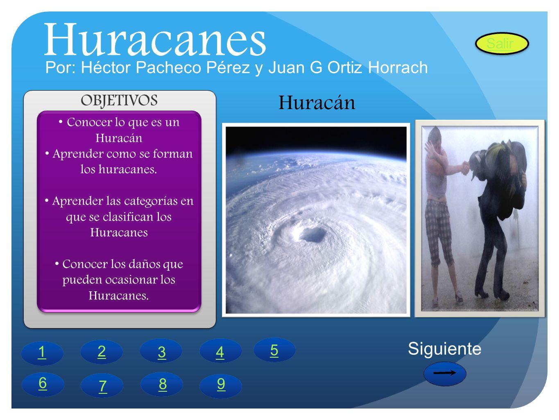 Huracanes Conocer lo que es un Huracán Aprender como se forman los huracanes. Aprender las categorías en que se clasifican los Huracanes Conocer los d