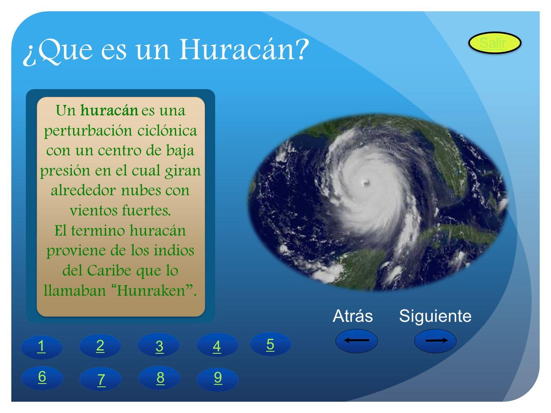 ¿Que es un Huracán? Un huracán es una perturbación ciclónica con un centro de baja presión en el cual giran alrededor nubes con vientos fuertes. El te