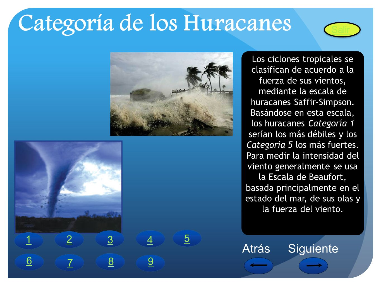 Categoría de los Huracanes Los ciclones tropicales se clasifican de acuerdo a la fuerza de sus vientos, mediante la escala de huracanes Saffir-Simpson