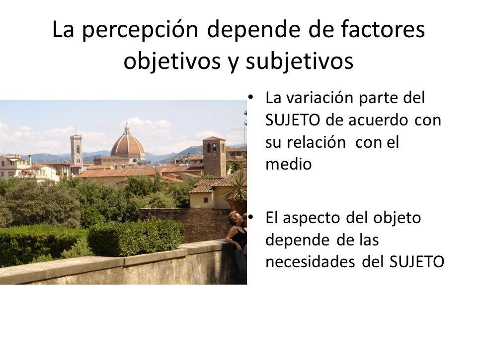 La percepción depende de factores objetivos y subjetivos La variación parte del SUJETO de acuerdo con su relación con el medio El aspecto del objeto d