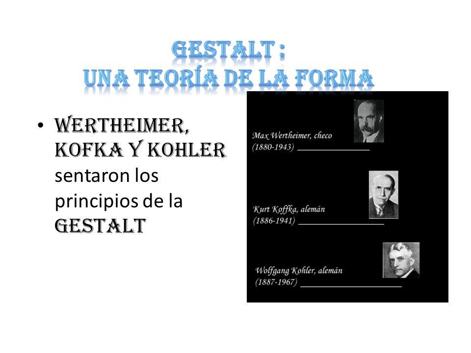 WERTHEIMER, KOFKA y KOHLER sentaron los principios de la GESTALT