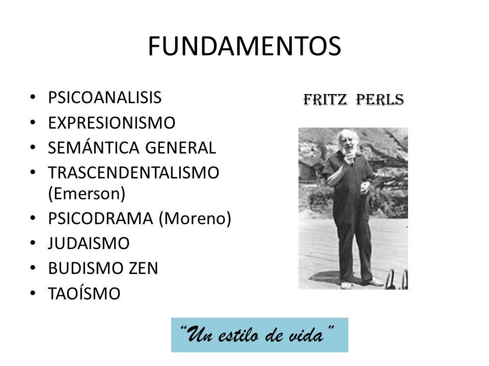 FUNDAMENTOS PSICOANALISIS EXPRESIONISMO SEMÁNTICA GENERAL TRASCENDENTALISMO (Emerson) PSICODRAMA (Moreno) JUDAISMO BUDISMO ZEN TAOÍSMO FRITZ PERLS Un