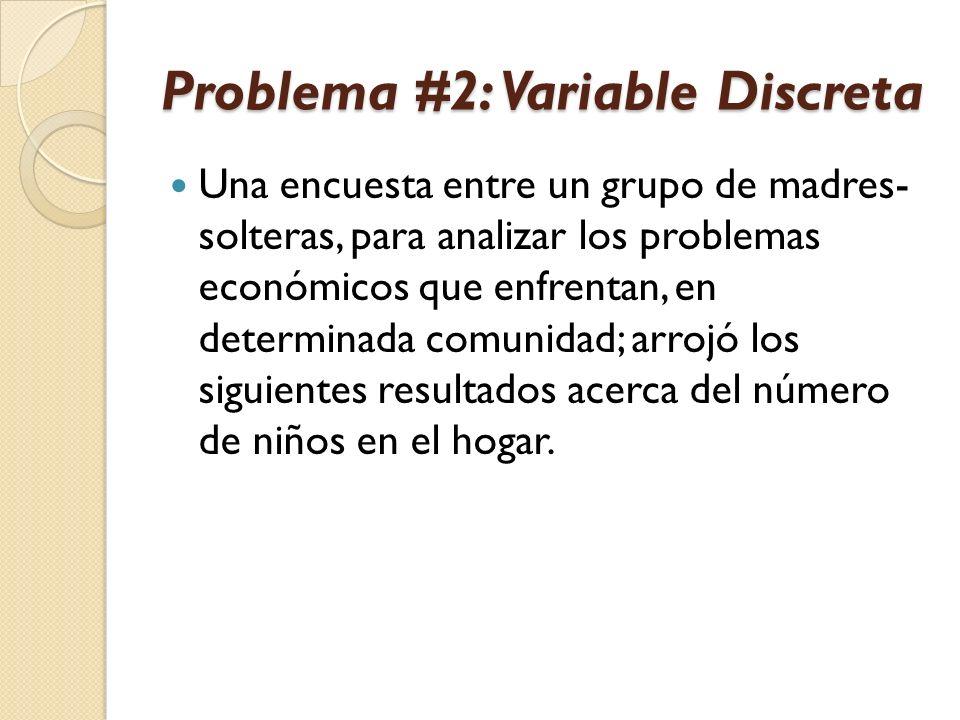 Problema #2: Variable Discreta Una encuesta entre un grupo de madres- solteras, para analizar los problemas económicos que enfrentan, en determinada c