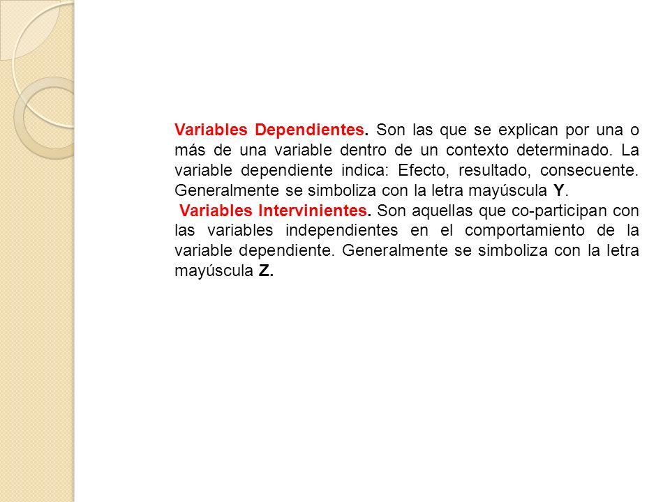 Variables Dependientes. Son las que se explican por una o más de una variable dentro de un contexto determinado. La variable dependiente indica: Efect