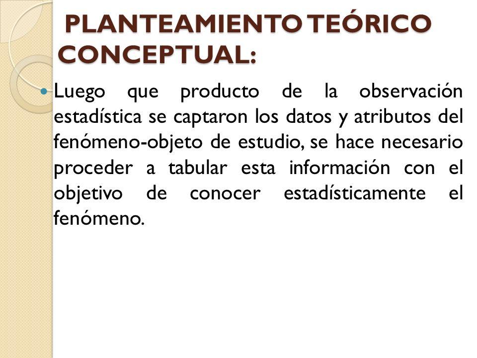 PLANTEAMIENTO TEÓRICO CONCEPTUAL: PLANTEAMIENTO TEÓRICO CONCEPTUAL: Luego que producto de la observación estadística se captaron los datos y atributos