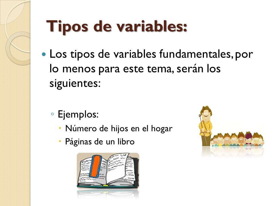 Tipos de variables: Los tipos de variables fundamentales, por lo menos para este tema, serán los siguientes: Ejemplos: Número de hijos en el hogar Pág