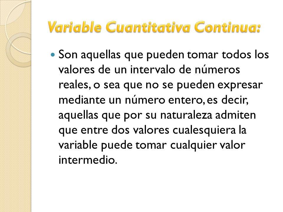 Son aquellas que pueden tomar todos los valores de un intervalo de números reales, o sea que no se pueden expresar mediante un número entero, es decir