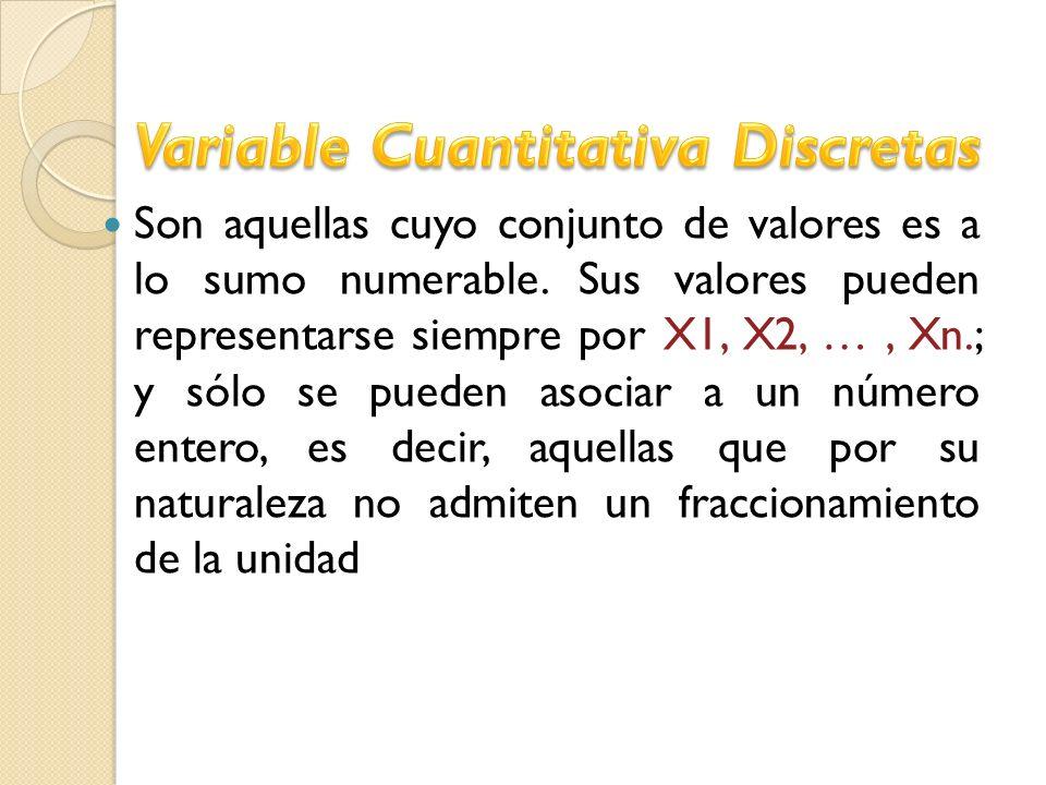 Son aquellas cuyo conjunto de valores es a lo sumo numerable. Sus valores pueden representarse siempre por X1, X2, …, Xn.; y sólo se pueden asociar a