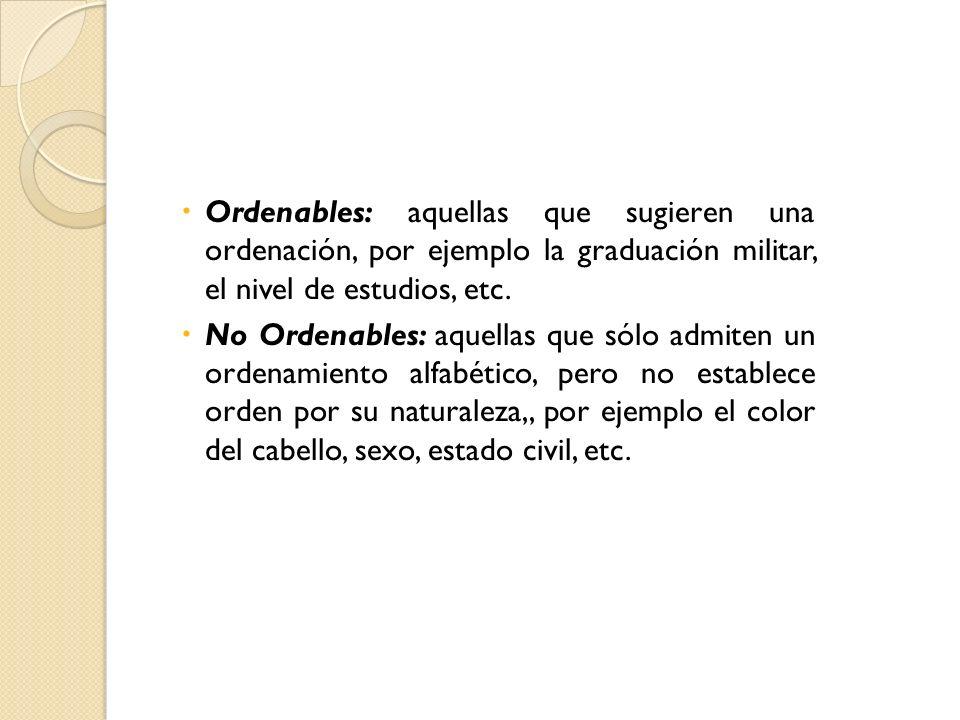 Ordenables: aquellas que sugieren una ordenación, por ejemplo la graduación militar, el nivel de estudios, etc. No Ordenables: aquellas que sólo admit