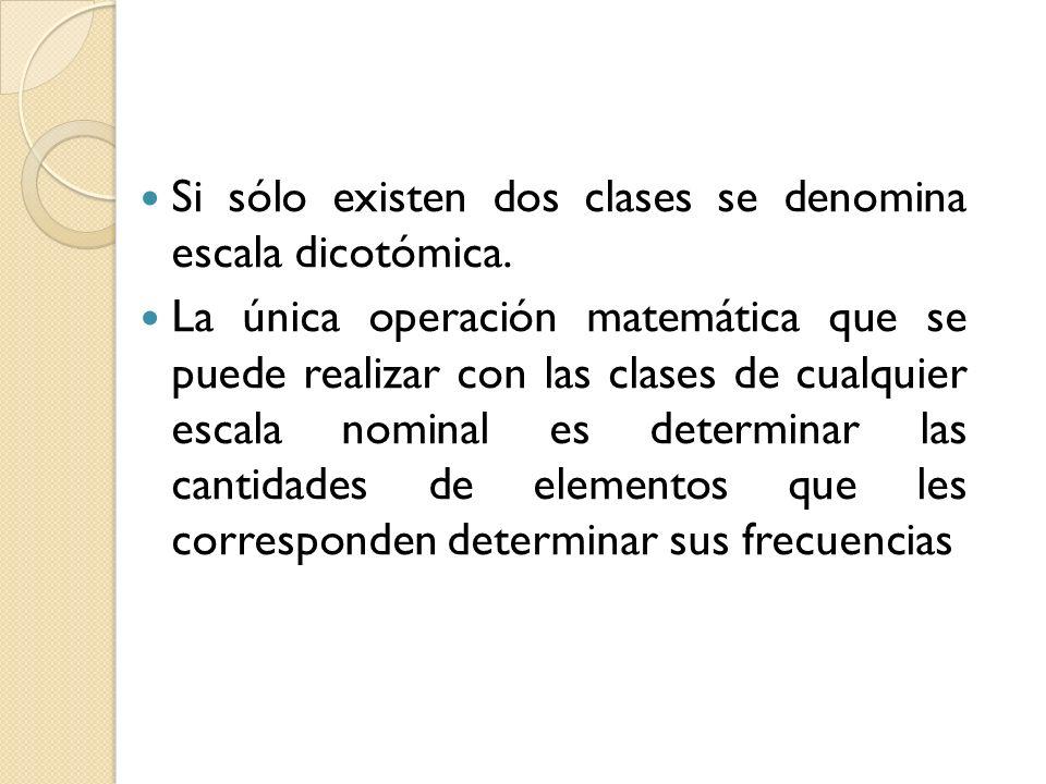 Si sólo existen dos clases se denomina escala dicotómica. La única operación matemática que se puede realizar con las clases de cualquier escala nomin