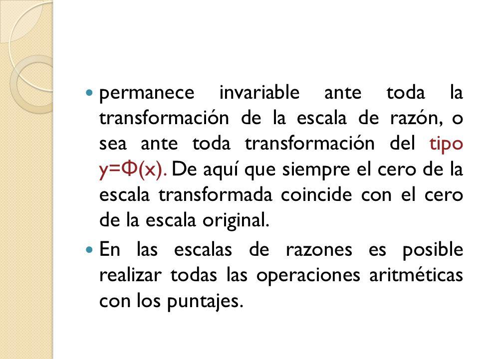 permanece invariable ante toda la transformación de la escala de razón, o sea ante toda transformación del tipo y= Φ (x). De aquí que siempre el cero