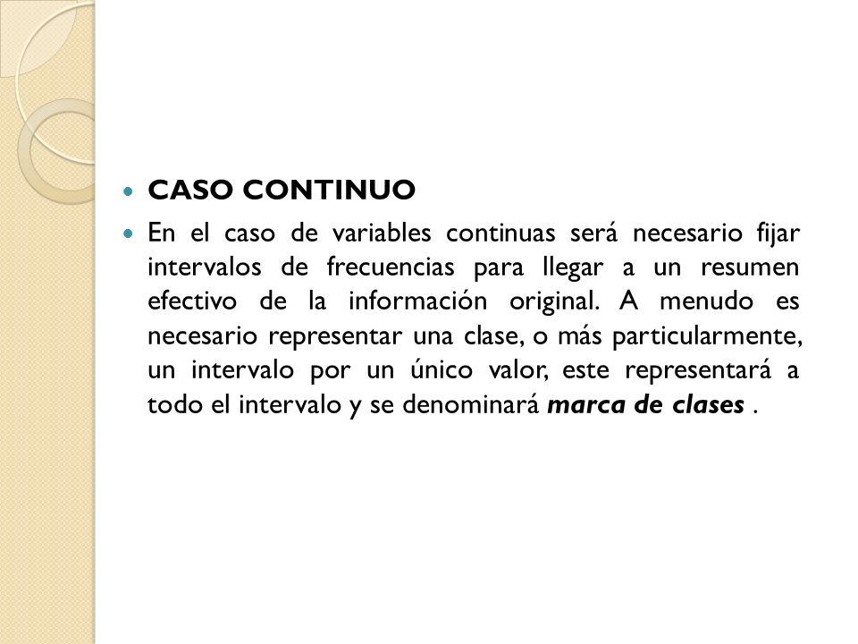 CASO CONTINUO En el caso de variables continuas será necesario fijar intervalos de frecuencias para llegar a un resumen efectivo de la información ori