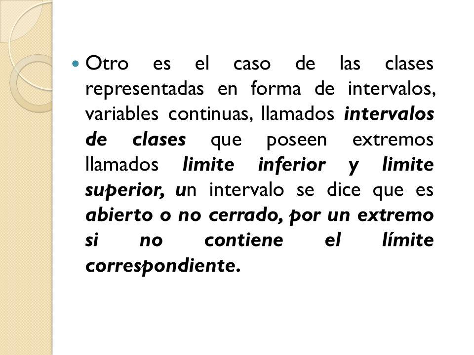 Otro es el caso de las clases representadas en forma de intervalos, variables continuas, llamados intervalos de clases que poseen extremos llamados li