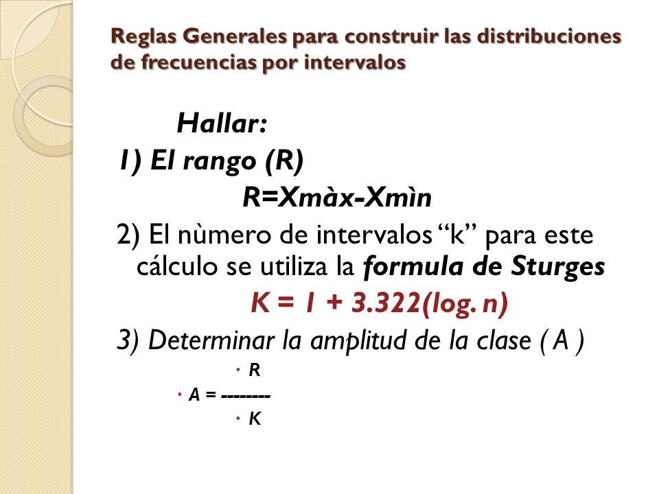 Reglas Generales para construir las distribuciones de frecuencias por intervalos Hallar: 1) El rango (R) R=Xmàx-Xmìn 2) El nùmero de intervalos k para