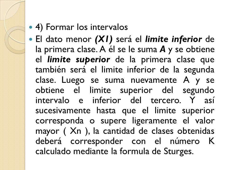 4) Formar los intervalos El dato menor (X1) será el limite inferior de la primera clase. A él se le suma A y se obtiene el limite superior de la prime