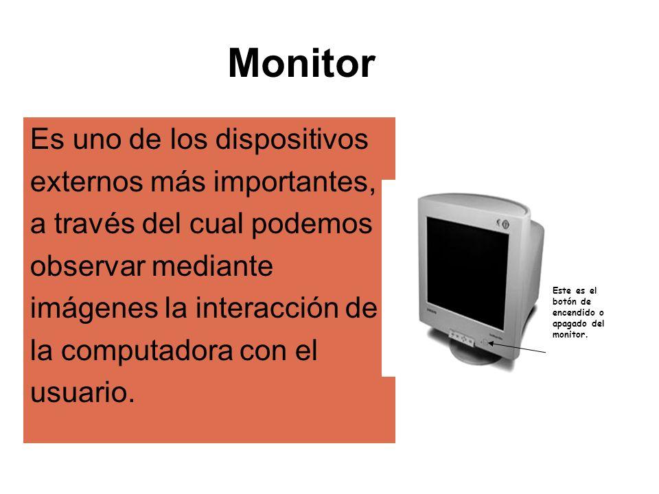 Es uno de los dispositivos externos más importantes, a través del cual podemos observar mediante imágenes la interacción de la computadora con el usua