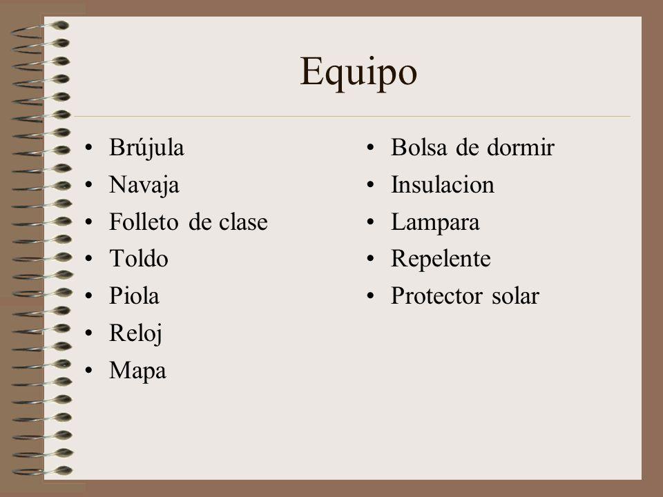 Equipo Brújula Navaja Folleto de clase Toldo Piola Reloj Mapa Bolsa de dormir Insulacion Lampara Repelente Protector solar