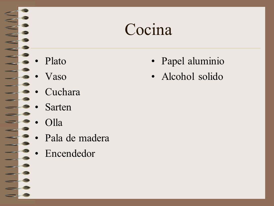 Cocina Plato Vaso Cuchara Sarten Olla Pala de madera Encendedor Papel aluminio Alcohol solido