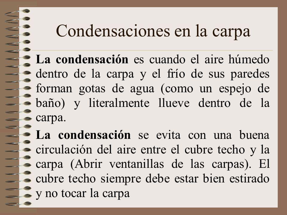 Condensaciones en la carpa La condensación es cuando el aire húmedo dentro de la carpa y el frío de sus paredes forman gotas de agua (como un espejo d