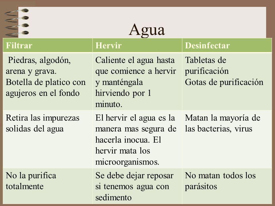 Agua FiltrarHervirDesinfectar Piedras, algodón, arena y grava.