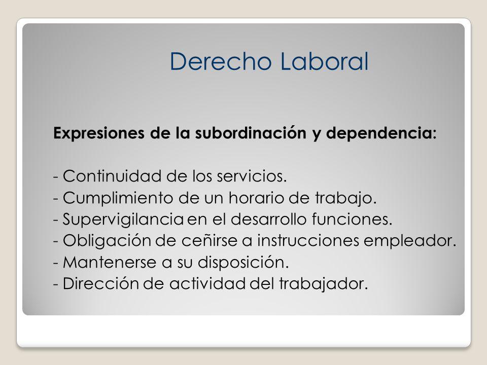 Expresiones de la subordinación y dependencia: - Continuidad de los servicios. - Cumplimiento de un horario de trabajo. - Supervigilancia en el desarr