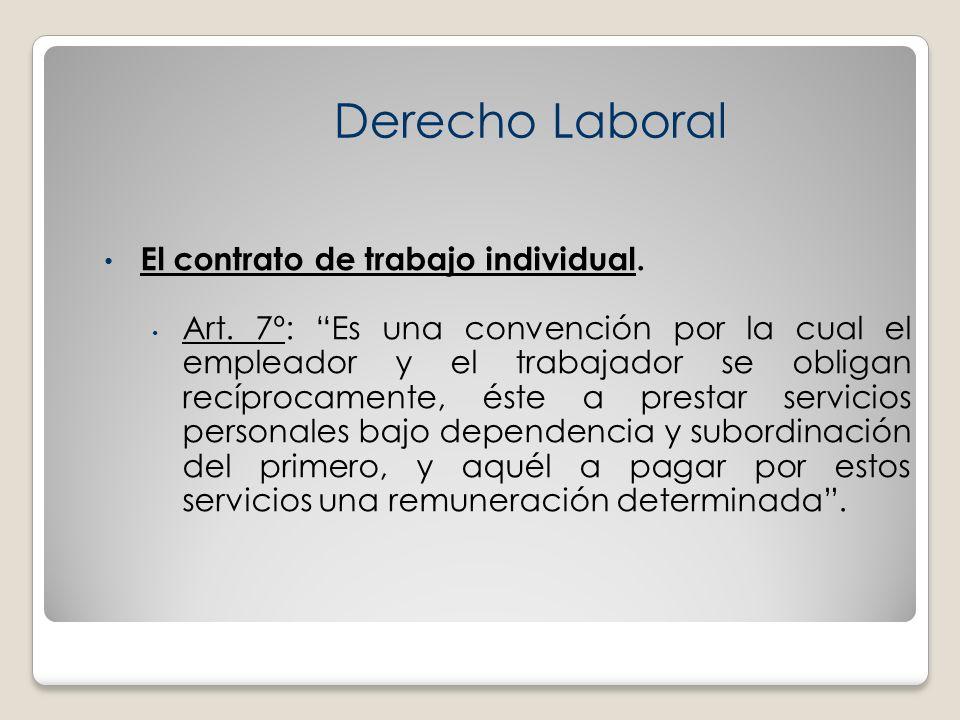 El contrato de trabajo individual. Art. 7º: Es una convención por la cual el empleador y el trabajador se obligan recíprocamente, éste a prestar servi