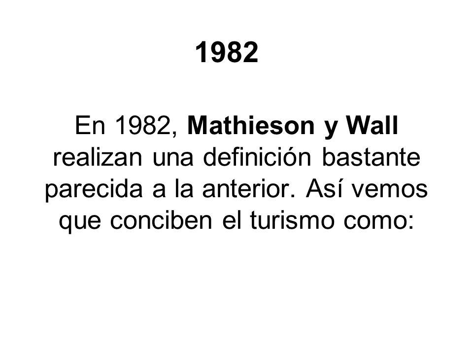 En 1982, Mathieson y Wall realizan una definición bastante parecida a la anterior. Así vemos que conciben el turismo como: 1982