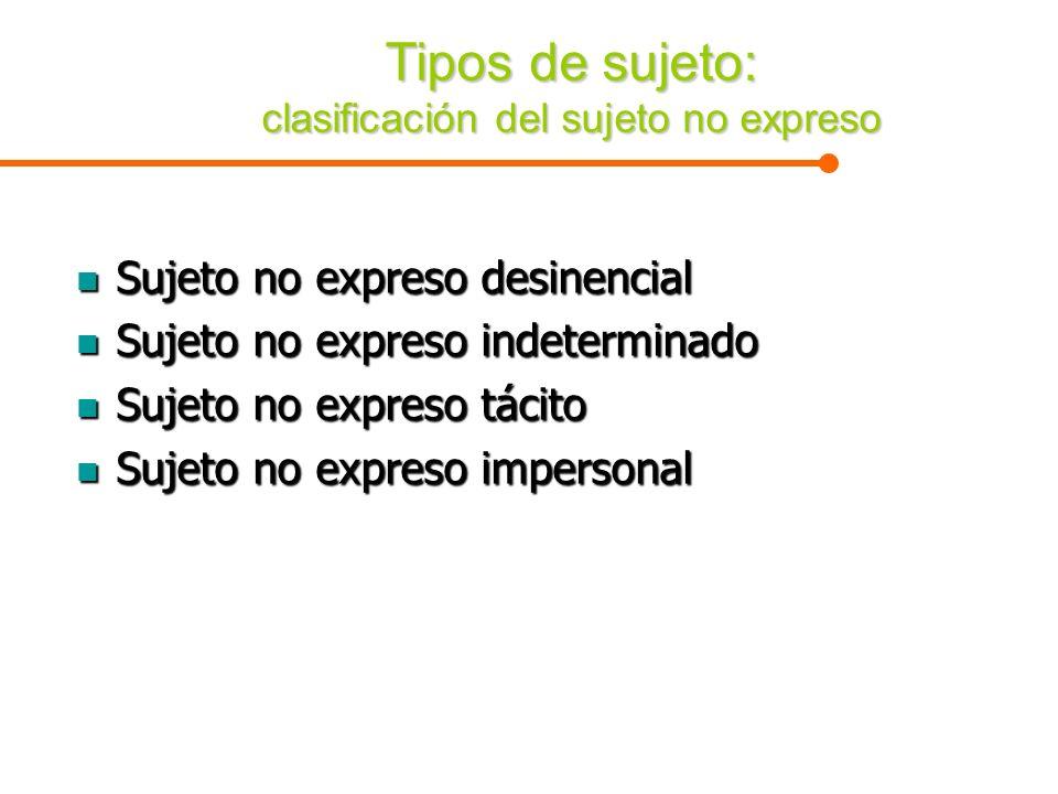 Tipos de sujeto: clasificación del sujeto no expreso Sujeto no expreso desinencial Sujeto no expreso desinencial Sujeto no expreso indeterminado Sujet