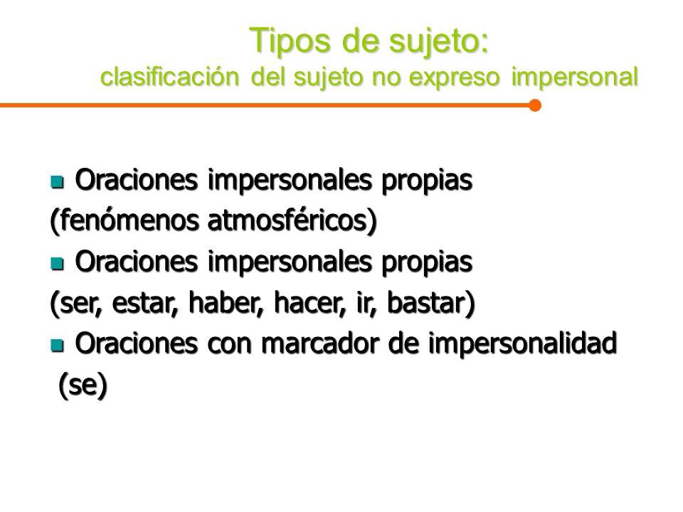 Tipos de sujeto: clasificación del sujeto no expreso impersonal Oraciones impersonales propias Oraciones impersonales propias (fenómenos atmosféricos)