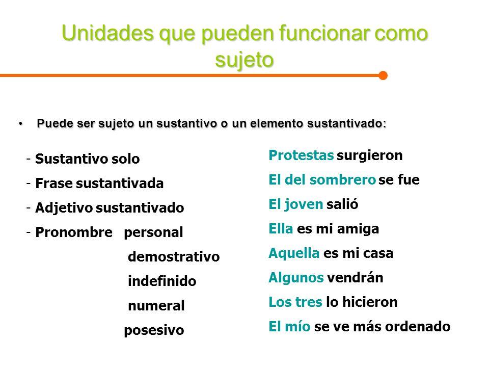 Unidades que pueden funcionar como sujeto Puede ser sujeto un sustantivo o un elemento sustantivado:Puede ser sujeto un sustantivo o un elemento susta
