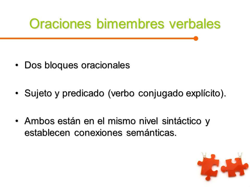 Oraciones bimembres verbales Dos bloques oracionalesDos bloques oracionales Sujeto y predicado (verbo conjugado explícito).Sujeto y predicado (verbo c