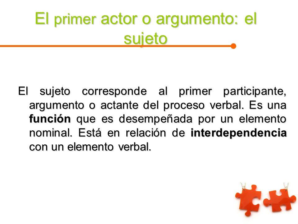 El primer actor o argumento: el sujeto El sujeto corresponde al primer participante, argumento o actante del proceso verbal. Es una función que es des