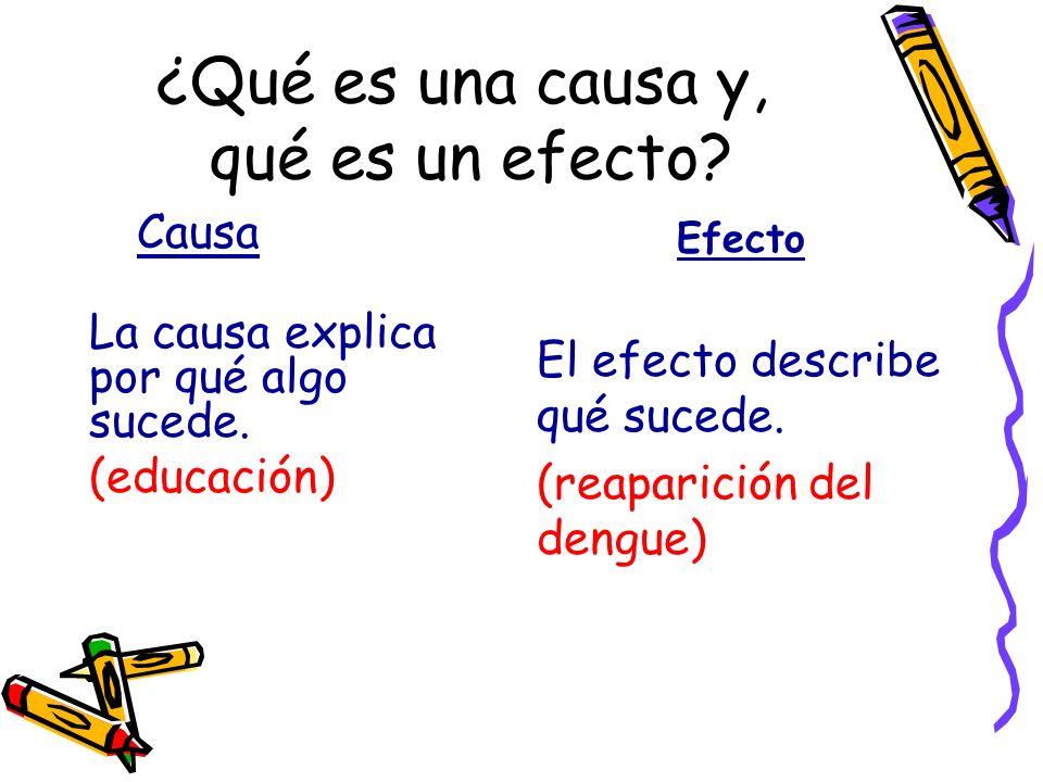 ¿Qué es una causa y, qué es un efecto? Causa La causa explica por qué algo sucede. (educación) Efecto El efecto describe qué sucede. (reaparición del