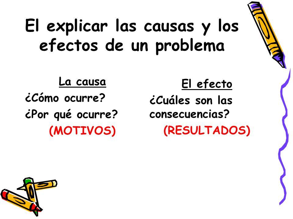 El explicar las causas y los efectos de un problema La causa ¿Cómo ocurre? ¿Por qué ocurre? (MOTIVOS) El efecto ¿Cuáles son las consecuencias? (RESULT