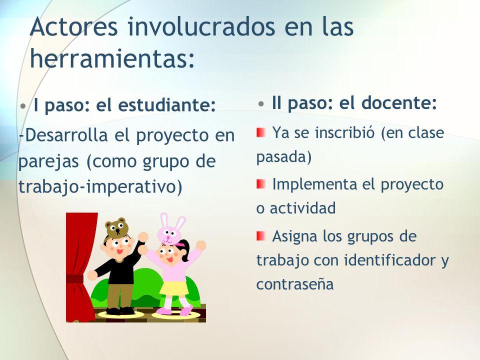 Actores involucrados en las herramientas: II paso: el docente: Ya se inscribió (en clase pasada) Implementa el proyecto o actividad Asigna los grupos