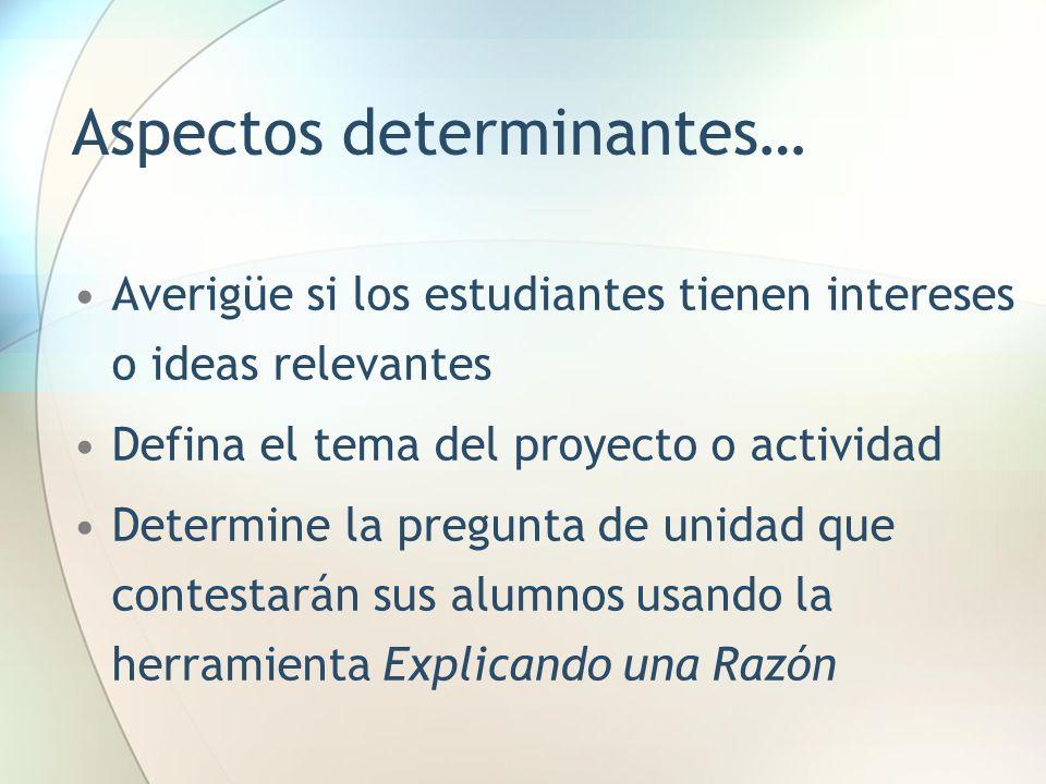 Aspectos determinantes… Averigüe si los estudiantes tienen intereses o ideas relevantes Defina el tema del proyecto o actividad Determine la pregunta