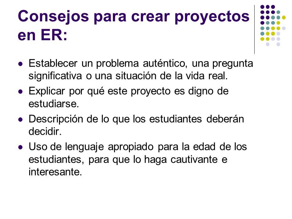 Consejos para crear proyectos en ER: Establecer un problema auténtico, una pregunta significativa o una situación de la vida real. Explicar por qué es