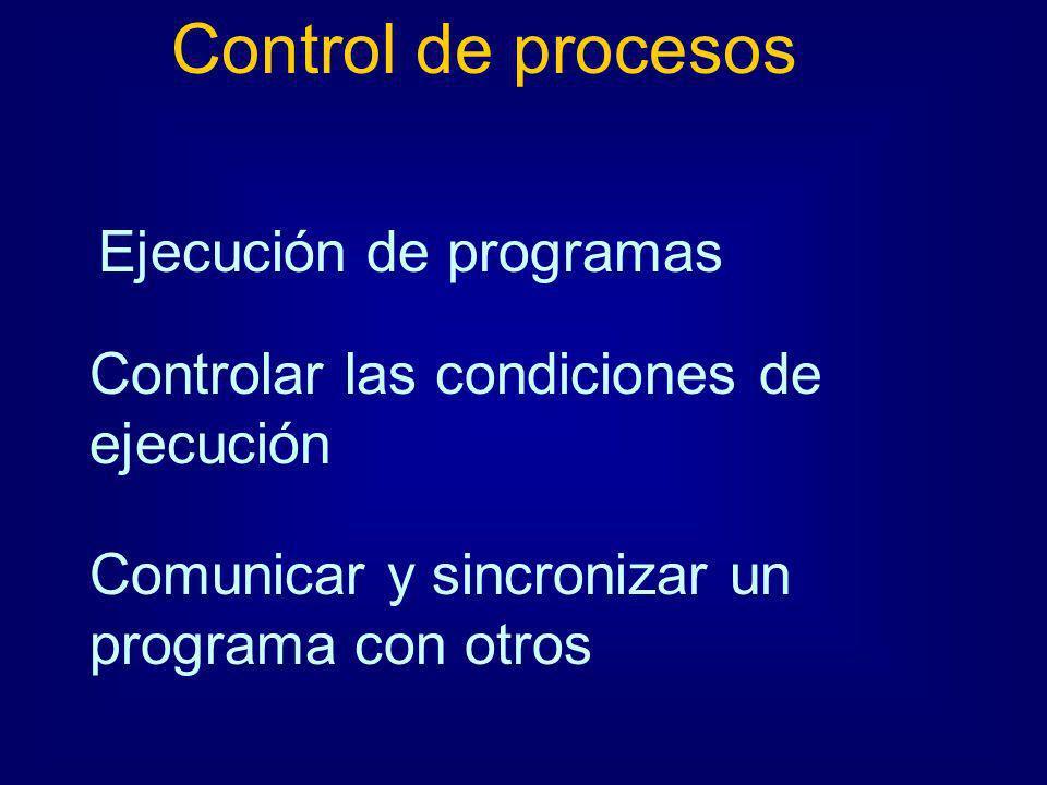 Control de procesos Ejecución de programas Controlar las condiciones de ejecución Comunicar y sincronizar un programa con otros