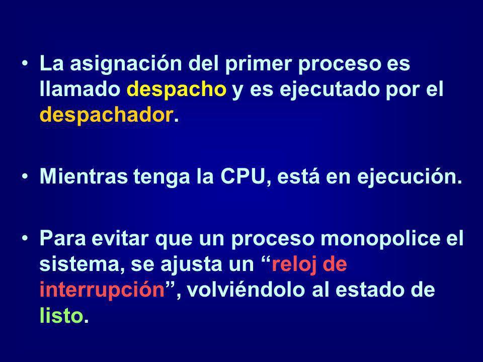 La asignación del primer proceso es llamado despacho y es ejecutado por el despachador. Mientras tenga la CPU, está en ejecución. Para evitar que un p