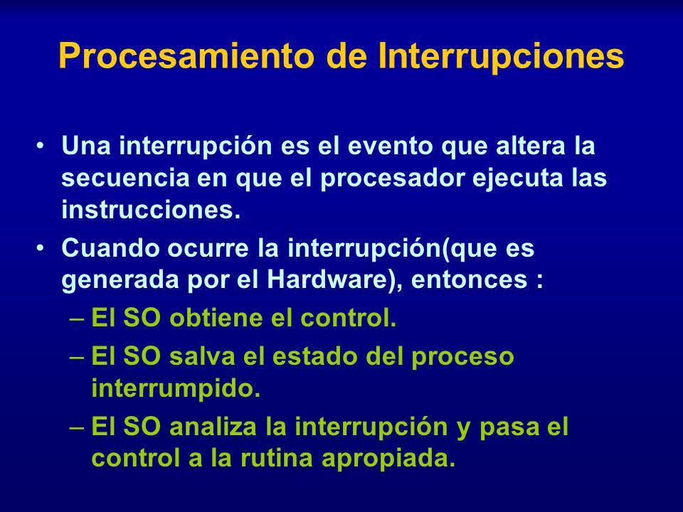 Procesamiento de Interrupciones Una interrupción es el evento que altera la secuencia en que el procesador ejecuta las instrucciones. Cuando ocurre la