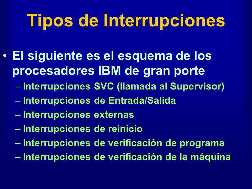 Tipos de Interrupciones El siguiente es el esquema de los procesadores IBM de gran porte –Interrupciones SVC (llamada al Supervisor) –Interrupciones d