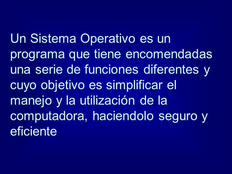 Un Sistema Operativo es un programa que tiene encomendadas una serie de funciones diferentes y cuyo objetivo es simplificar el manejo y la utilización